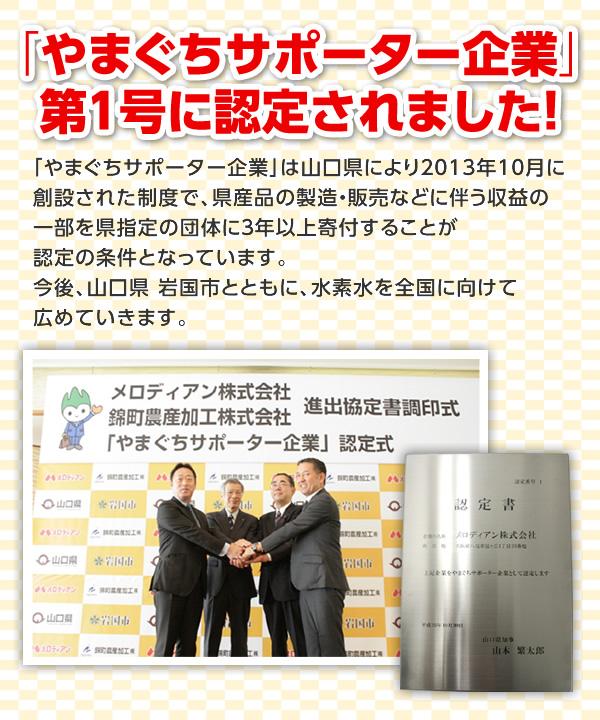 「やまぐちサポーター企業」第1号に認定されました!