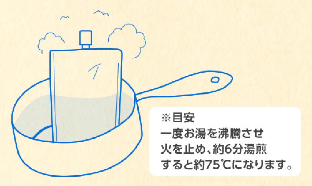 ※目安 一度お湯を沸騰させ 火を止め、約6分湯煎すると約75℃になります。